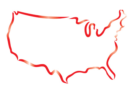 contour rouge des Etats-Unis carte Illustration