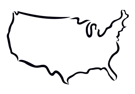 black outline: black outline of USA map