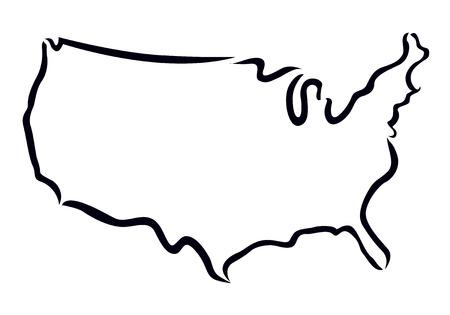 Schwarzer Umriss der USA-Karte Standard-Bild - 24797636