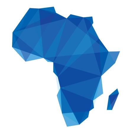 blauwe kaart van Afrika in origami stijl Stock Illustratie