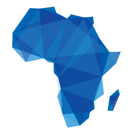 blue Africa map in origami style
