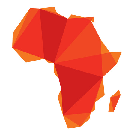 ethiopia abstract: red Africa map in origami style  Illustration