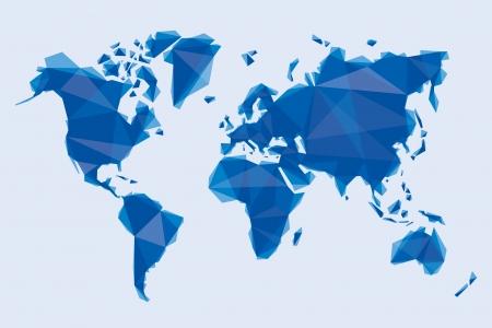 blauwe kaart van de wereld in origami stijl