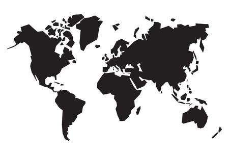 black abstract map of the world Çizim