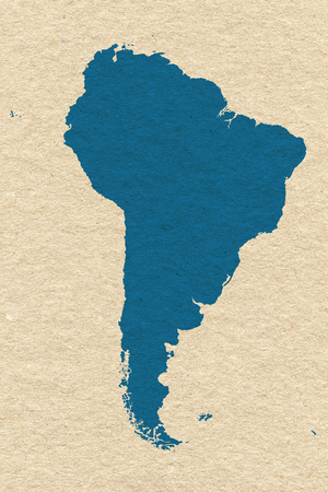 South America map on cream handmade paper texture photo