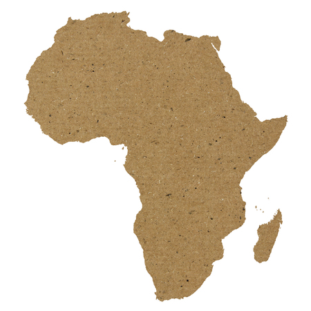 Africa map made of yellow paper or carton texture photo