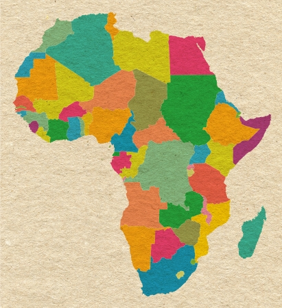 Colorful Africa on carton paper texture photo