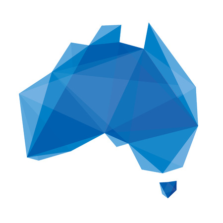 australia: blue abstract map of Australia in origami style