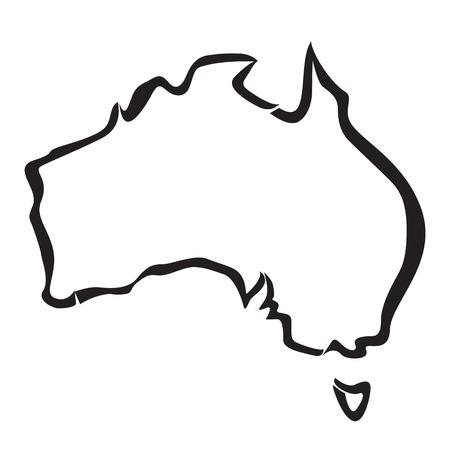 호주지도의 검은 윤곽선 일러스트