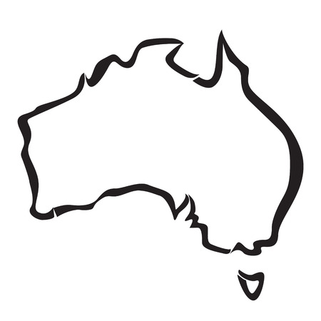 black outline: black outline of Australia map Illustration