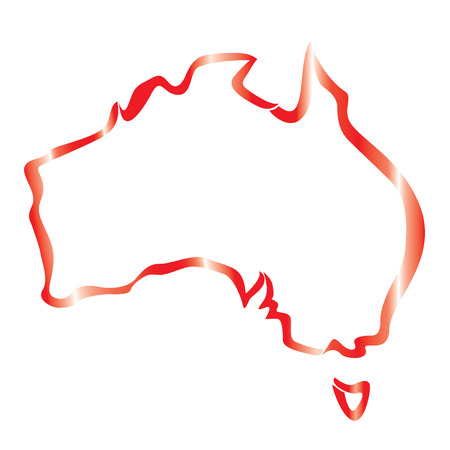 red outline of Australia map Vector
