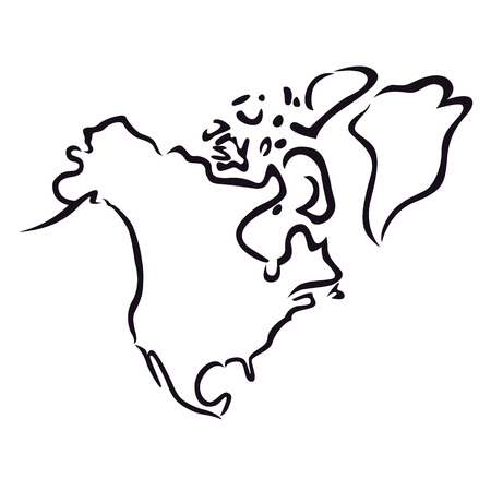 Black abstract outline of North America map  Illustration