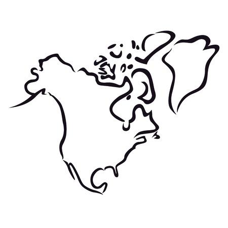 Contour noir abstraite de l'Amérique du Nord carte