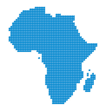 blue map of Africa made of pixels  Vector