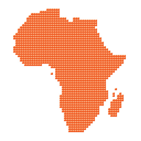 orange map of Africa made of pixels  Vector