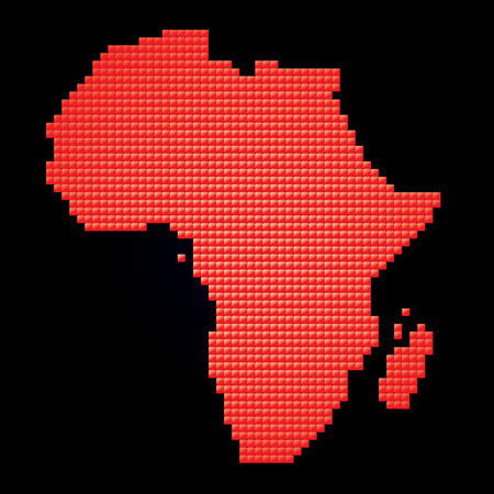 red map of Africa made of pixels  Vector