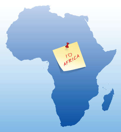 map of Africa with stick note card with I love Africa text Vector