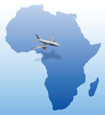 airplane over blue Africa map  Vector