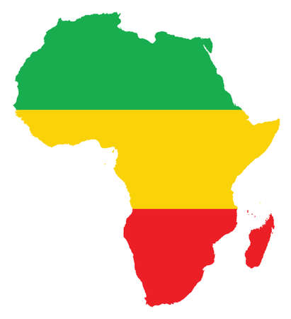 map of Africa feeling with colors from the Congo flag  Vector