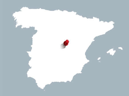 white map of Spain indicating the position of Madrid Vector