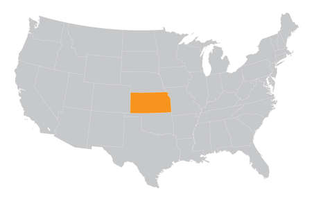 USA map with the indication of The State of Kansas Vector