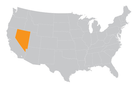 USA map with the indication of State of Nevada Vector