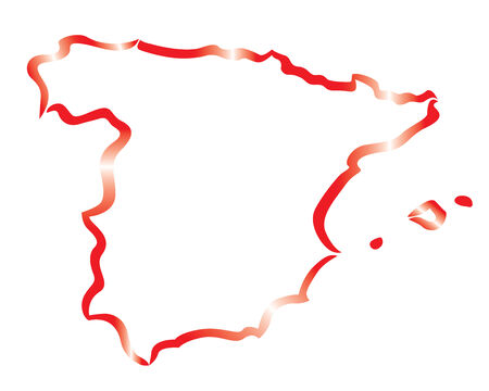 red abstract outline of Spain map Vector