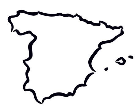 스페인지도의 검은 색 추상적 인 개요 스톡 콘텐츠 - 25041568