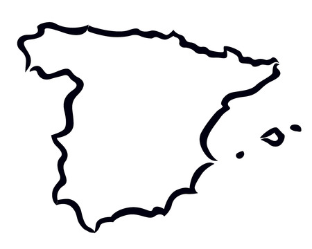 spain map: nero sagoma astratta di Spagna mappa