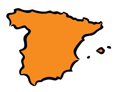 abstract orange Spain map Vector