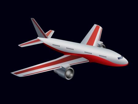 undercarriage: airplane on black  Illustration