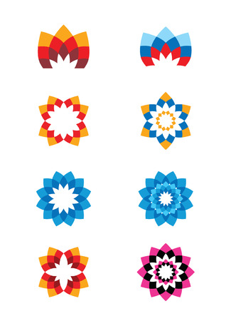 Set of flower abstract Icons for any type of business  Vector Vector