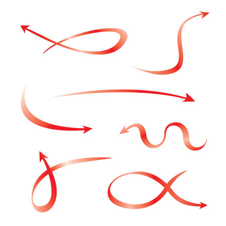 curved arrows: Set of red curved arrows