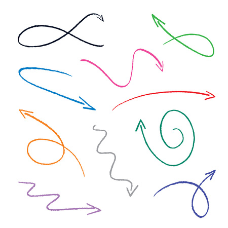 set of colorful sketch arrows  Vector