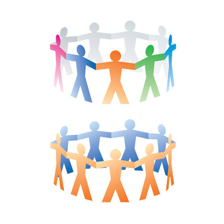 linked hands: two circles of colorful paper people