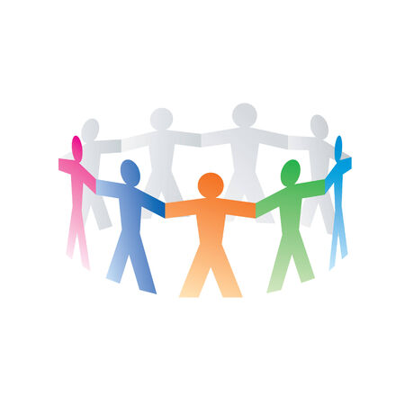 hand holding paper: circle of colorful paper people on white   Illustration