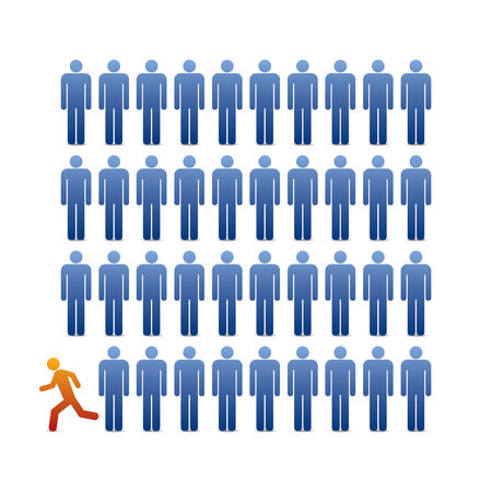 illustration people icons with one facing out from the crowd Vector