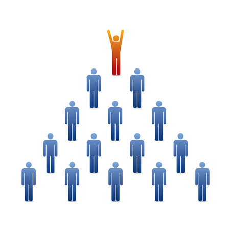 pyramid of people icons with leader on the top  Vector