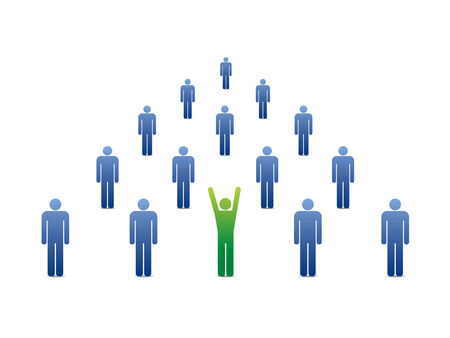 group of people icons with green leader ahead  Vector