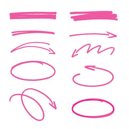 ピンクの手描きの矢印記号と強調表示要素のセット  イラスト・ベクター素材