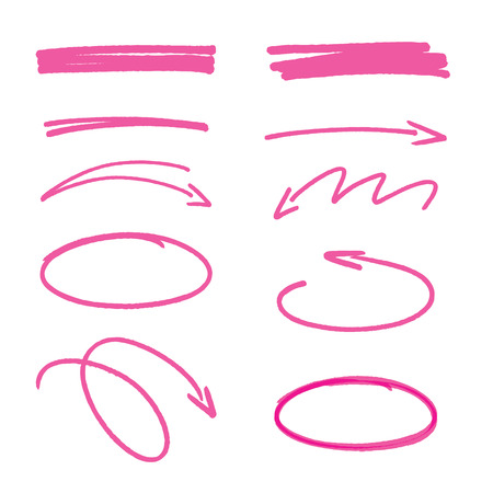 pen: set of pink hand drawn arrows signs and highlighting elements