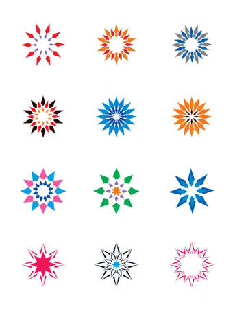 activity icon: Set of colorful abstract floral and stars icons Illustration