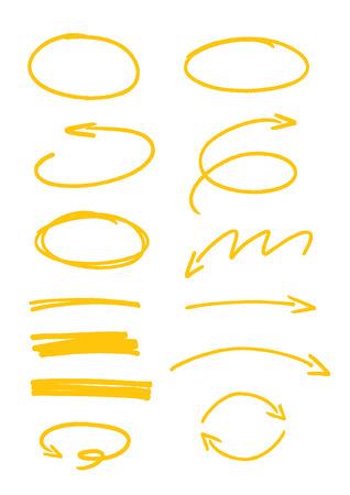 set of yellow sketch arrows