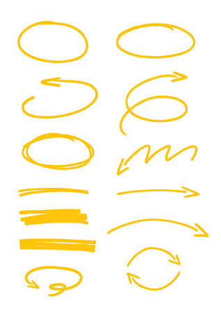 set of yellow sketch arrows