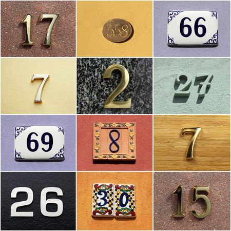 Collection of colorful house numbers photo