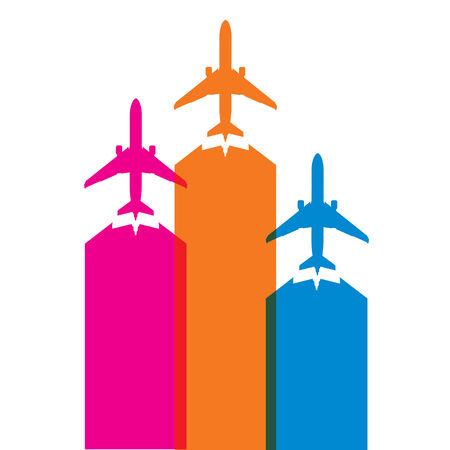 undercarriage: colorful airplane icons