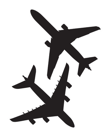 two black airplane icons Vektorové ilustrace