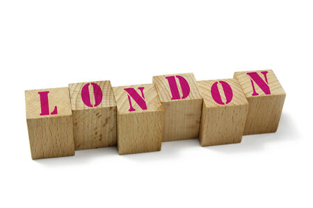 word london on wood cubes photo