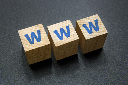 www text on wood cubes Stock Photo