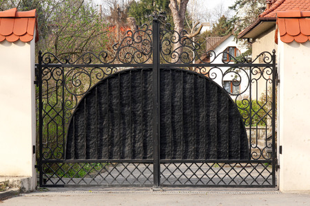 black wrought gate photo